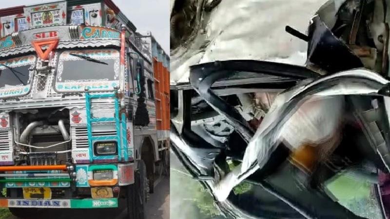 ट्रक और कार जिनसे हादसा हुआ।