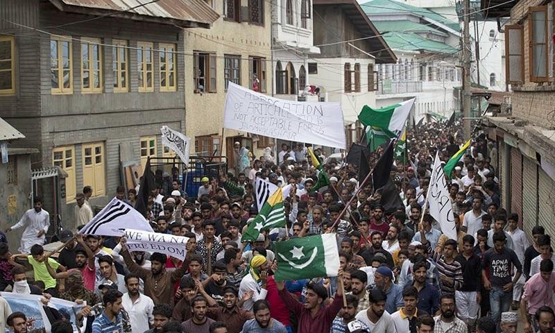 सौरा में हुए विरोध प्रदर्शन का दृश्य।