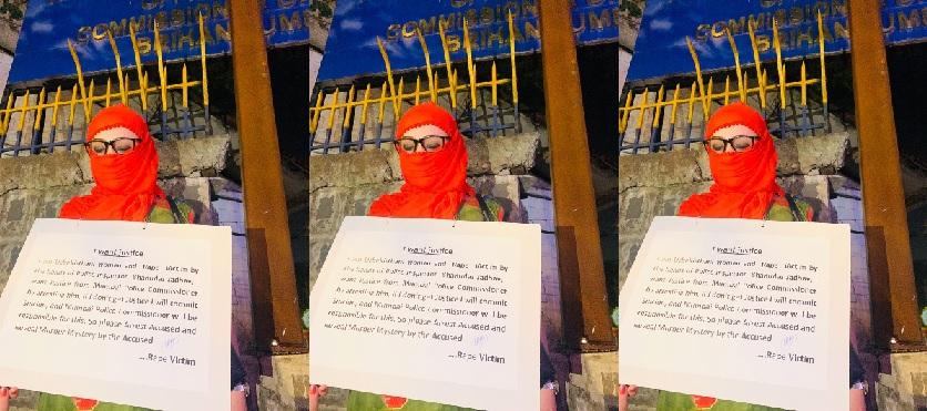 पुलिस कमिश्नर के दफ्तर के सामनेे धरने पर बैठी उज्बेक महिला।