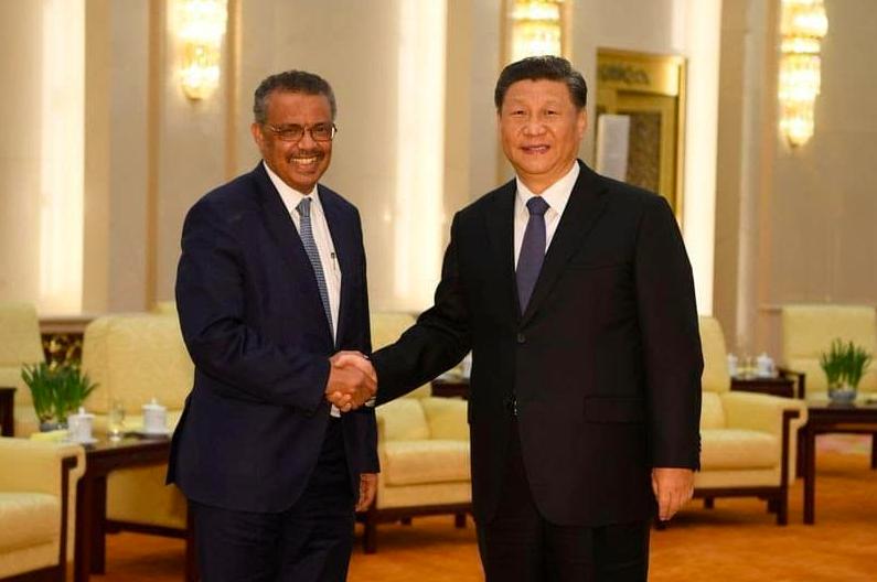 डब्ल्यूएचओ अध्यक्ष और चीन राष्ट्रपति।