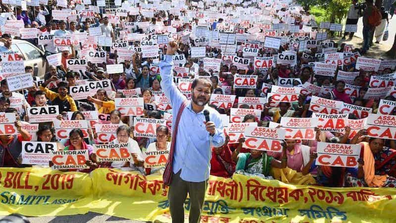 अखिल गोगोई सीएए के खिलाफ रैली में।